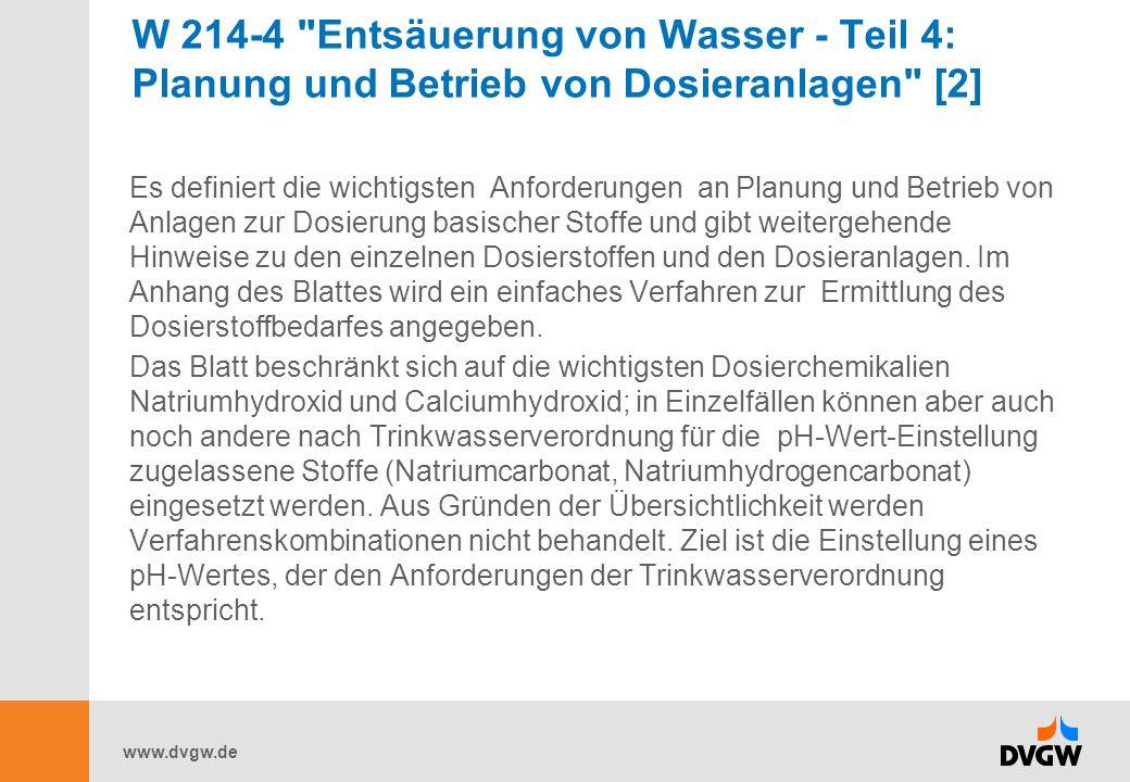 W 214-4 Entsäuerung von Wasser - Teil 4: Planung und Betrieb von Dosieranlagen [2]